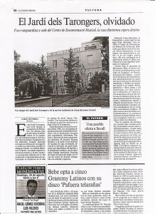 Jardí dels Tarongers. La Vanguardia 24-IX-2005